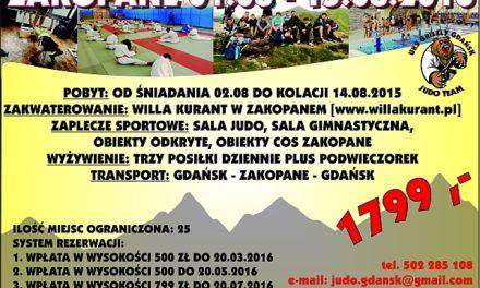 [Obozy judo] Zakopane 2016 [01.08 – 15.08.2016]