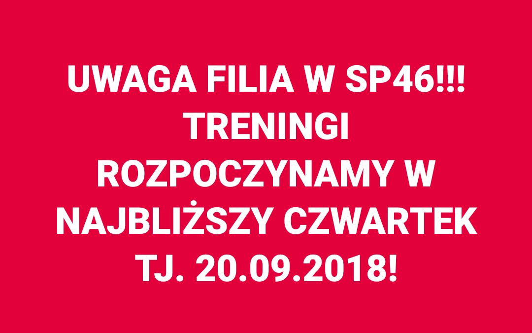 [Treningi] Treningi w SP46 rozpoczynamy w najbliższy czwartek! [20.09.2018]