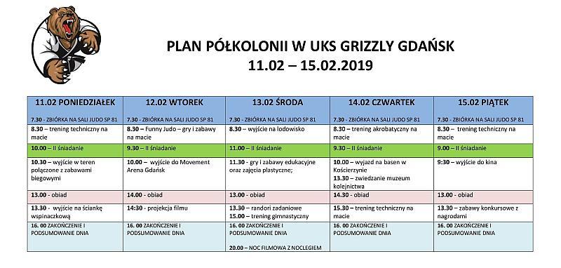 Plan półkolonii w UKS GRIZZLY GDAŃSK [11.02 – 15.02.2019]