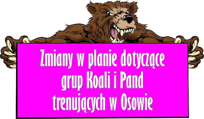 Zmiany w planie dotyczące grup Koali i Pand trenujących w Osowie