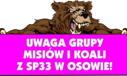[Treningi] Wydłużenie treningów grup Misiów i Koali z SP33 w Gdańsku-Osowie