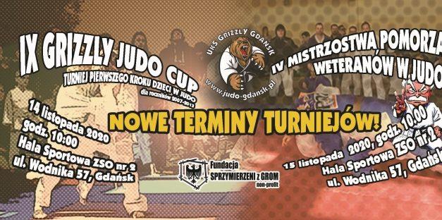 Nowe terminy IX Grizzly Judo Cup oraz IV Mistrzostw Pomorza Weteranów w Judo