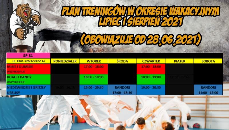 Plan treningów w okresie wakacyjnym obowiązujący od 28 czerwca do 31 sierpnia 2021